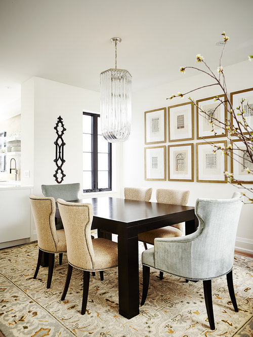 Inspiration For A Transitional Dark Wood Floor Dining Room Remodel In Toronto With White Walls