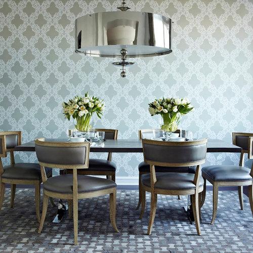 Transitional Dark Wood Floor Dining Room Idea In New York