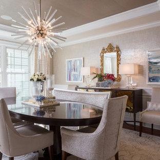 Неиссякаемый источник вдохновения для домашнего уюта: большая отдельная столовая в стиле современная классика с серебряными стенами и паркетным полом среднего тона без камина