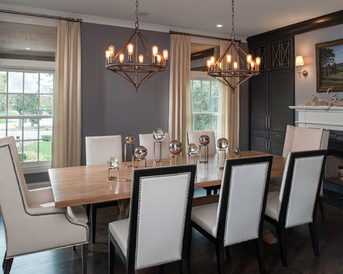 Example of a transitional dining room design in Chicago with gray walls,  dark hardwood floors - Captain Chair Houzz