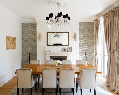 Enclosed Dining Room   Transitional Medium Tone Wood Floor Enclosed Dining  Room Idea In London With