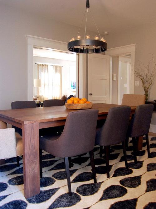 Example Of A Transitional Enclosed Dining Room Design In San Francisco With  Gray Walls