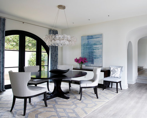 Transitional Dining Room Photo In Orange County With White Walls