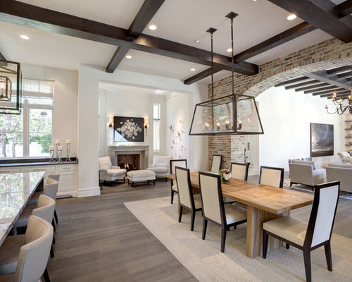 Example Of A Large Transitional Dark Wood Floor And White Great Room Design In Dallas