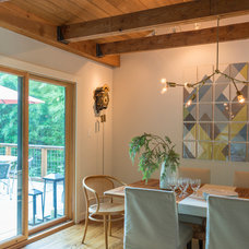 Transitional Dining Room by Rill Architects