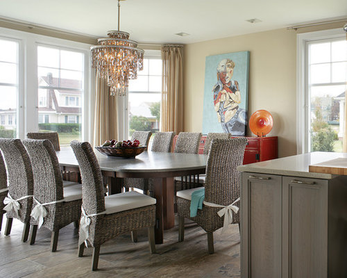 Example of a large transitional porcelain floor kitchen dining room combo  design in Other with. Painted Dining Tables   Houzz