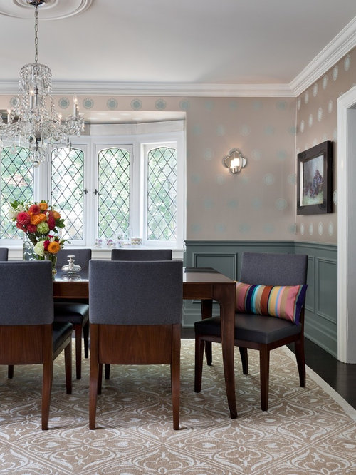 Transitional Enclosed Dining Room Idea In Toronto With Dark Wood Floors And Multicolored Walls