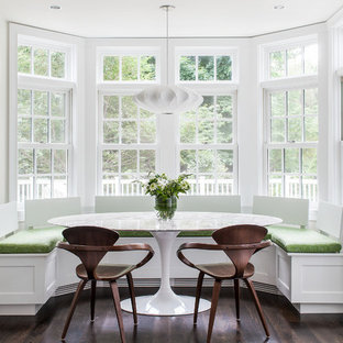 Dining room - transitional dark wood floor dining room idea in Boston with white walls