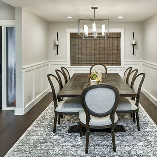 Inspiration for a large transitional dark wood floor and brown floor enclosed dining room remodel in San Francisco with gray walls