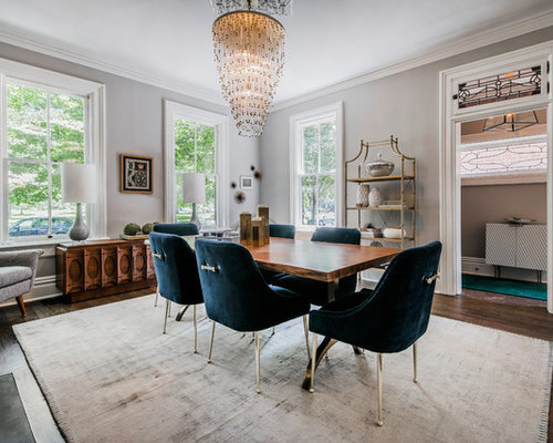 Inspiration For A Transitional Enclosed Dining Room Remodel In Columbus With Gray Walls Dark Wood