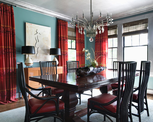 Houzz teal and red design ideas remodel pictures for Teal dining room decorating ideas