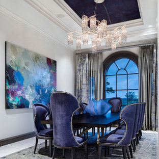 Enclosed dining room - large mediterranean white floor and marble floor enclosed dining room idea in Austin with white walls