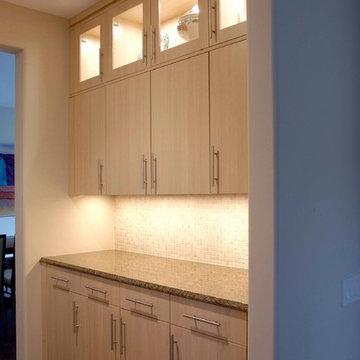 Transitional Flat Panel Cabinetry Butler's Pantry with Tile Backsplash