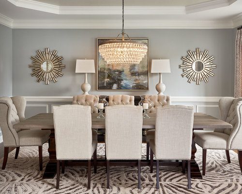Transitional dining room design ideas renovations for Dining room grey walls