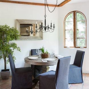 Esempio di una sala da pranzo mediterranea chiusa e di medie dimensioni con pareti bianche, pavimento in terracotta, nessun camino e pavimento arancione