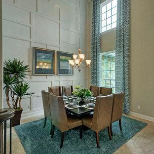 Idée de décoration pour une grande salle à manger tradition avec un mur blanc et un sol en carrelage de céramique.