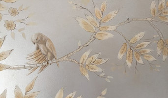 Tree Mural:  Close-Up: Stylized Silverleaf Finish with Birds, Trees and Foliage