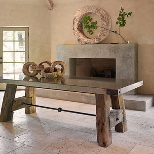 Trestle Table with Concrete Top