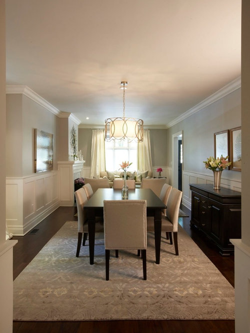 Elegant Dark Wood Floor And Brown Dining Room Photo In Toronto With Gray Walls