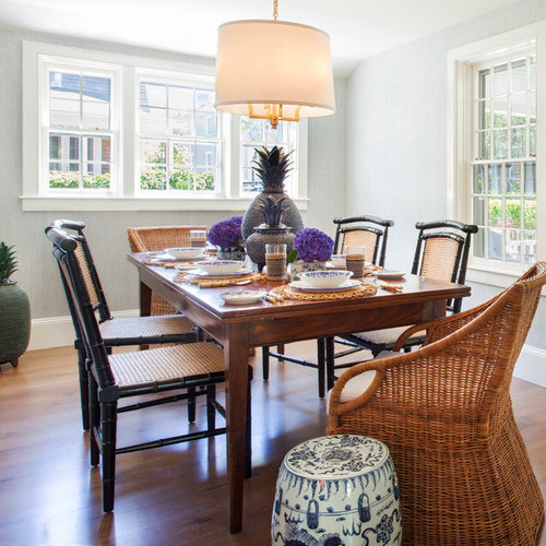 Example Of An Island Style Medium Tone Wood Floor And Brown Floor Enclosed Dining  Room Design