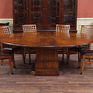 Tropical Round Table- Solid Walnut Expandable Round Dining Table