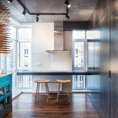 Inspiration for an industrial dark wood floor kitchen/dining room combo remodel in Other with gray walls and no fireplace
