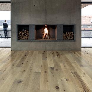 Modelo de comedor moderno, de tamaño medio, abierto, con paredes blancas, suelo de madera clara, chimenea tradicional, marco de chimenea de hormigón y suelo beige