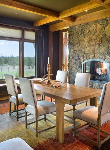 Rustic Dining Room by Alan Mascord Design Associates Inc