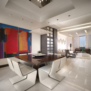 Trendy marble floor great room photo in Miami
