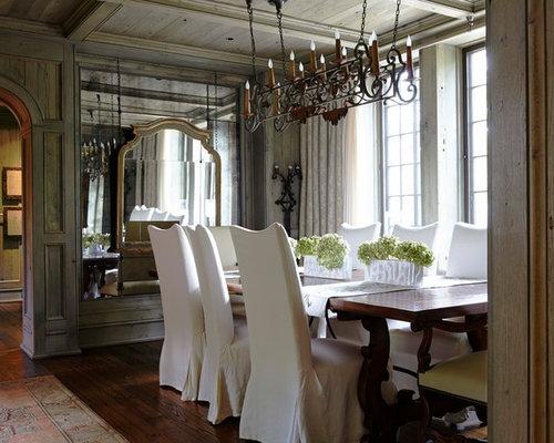 Traditional Dark Wood Floor And Brown Dining Room Idea In Birmingham