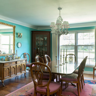 Turquoise Traditional Dining Room