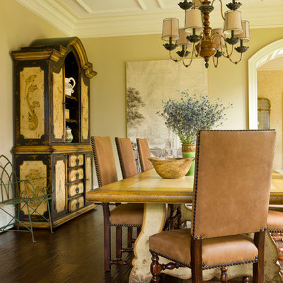 Enclosed dining room - large mediterranean dark wood floor and brown floor enclosed dining room idea in DC Metro with beige walls and no fireplace
