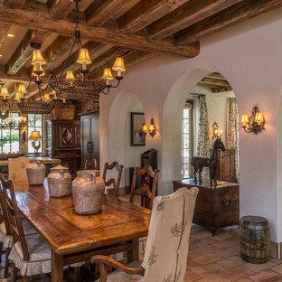 Diseño de comedor de cocina rústico, grande, sin chimenea, con paredes beige, suelo de baldosas de terracota y marco de chimenea de piedra