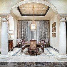 Mediterranean Dining Room by JAUREGUI Architect Builder