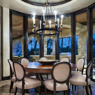 Inspiration for a mid-sized mediterranean great room remodel in Houston with beige walls