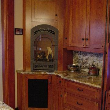 Twain Harte kitchen in warm cherry with ebonized walnut accents and inlays