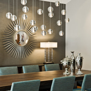 Example Of A Midcentury Modern Dining Room Design In Minneapolis With Gray Walls