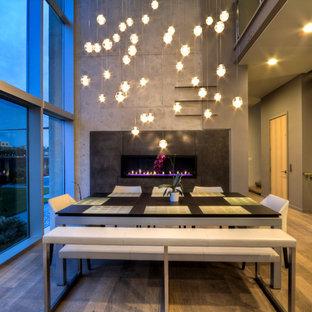 Diseño de comedor contemporáneo, de tamaño medio, abierto, con paredes grises, suelo de madera en tonos medios, chimenea lineal, marco de chimenea de metal y suelo marrón