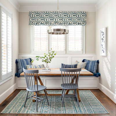 Small beach style dark wood floor dining room photo in Atlanta with beige walls and no fireplace