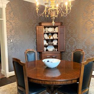 Idee per un'ampia sala da pranzo aperta verso la cucina classica con pareti blu, pavimento in legno massello medio e pavimento rosso
