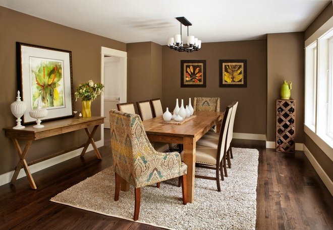 Transitional Dining Room by Brock Design Group