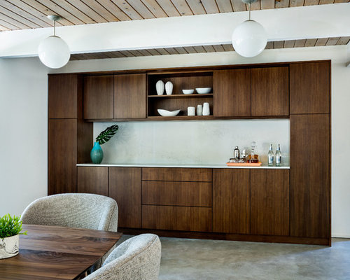 Inspiration For A Mid Sized Midcentury Modern Concrete Floor Kitchen Dining Room Combo Remodel