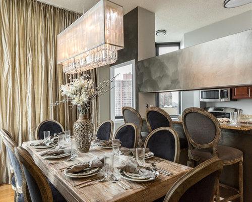 Pareti In Legno Shabby : Sala da pranzo shabby chic style con pareti con effetto metallico