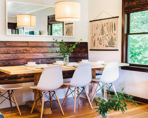 Inspiration For A Mid Sized Farmhouse Dining Room Remodel In Portland With White Walls