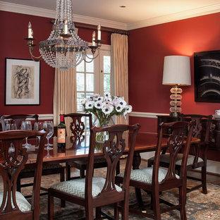 Стильный дизайн: столовая в классическом стиле с красными стенами - последний тренд