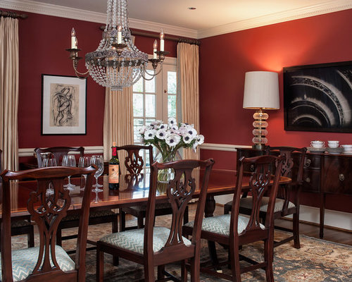 Red paint colors houzz for Traditional red dining room