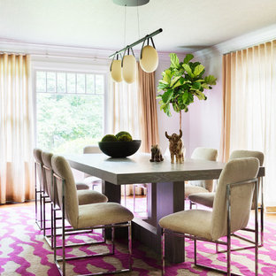 Design ideas for a bohemian dining room in New York with purple walls and no fireplace.