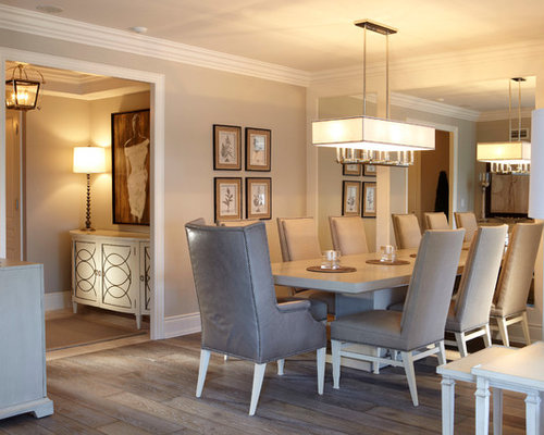 Mid-sized transitional light wood floor enclosed dining room idea in Toronto with beige walls & Hudson Valley Lighting | Houzz azcodes.com