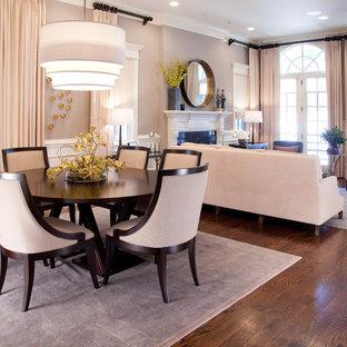 Идея дизайна: гостиная-столовая среднего размера в стиле современная классика с коричневым полом, бежевыми стенами и темным паркетным полом без камина