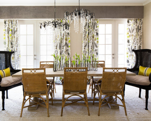 Large Country Carpeted And White Floor Dining Room Photo In Atlanta With Beige Walls